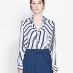 Zara Striped Silk Shirt Button Down Blouse Navy